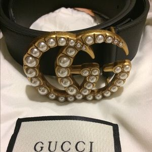 Pearl Gucci Belt 1.5 Inches Wide Size 85cm